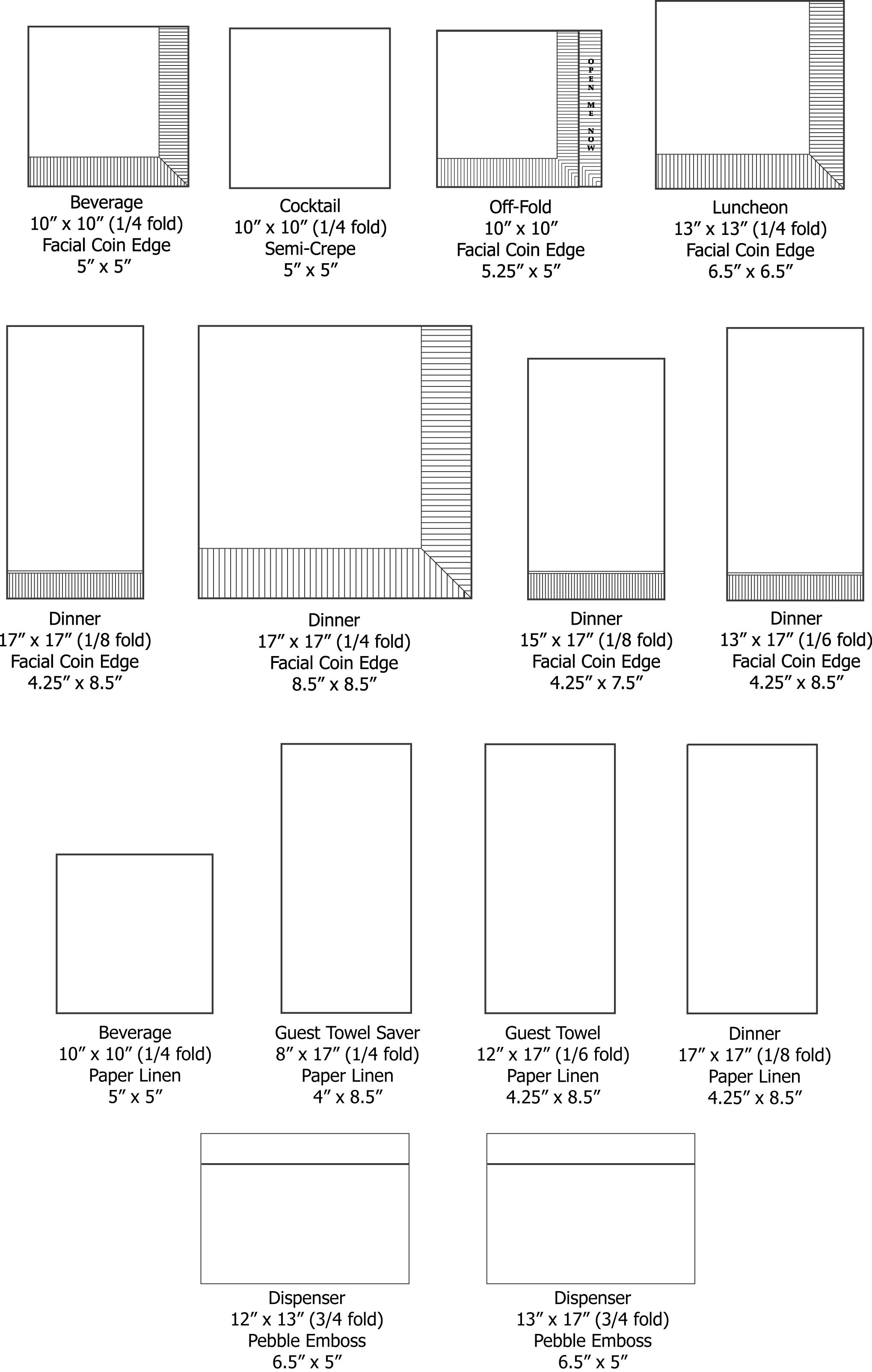 Napkin Sizes chart
